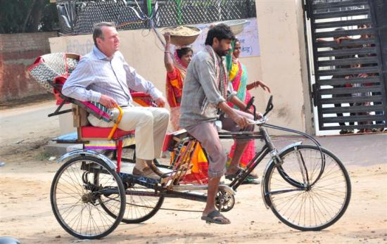 "#6181825 Actor Tom Willkinson riding by paddle rickshaw while filming ""The Best Exotic Marigold Hotel"" on November 14, 2010 in Jaipur, Rajasthan, India. Restriction applies: USA ONLY - NO NEW YORK NEWSPAPERS  Fame Pictures, Inc - Santa Monica, CA, USA - +1 (310) 395-0500"