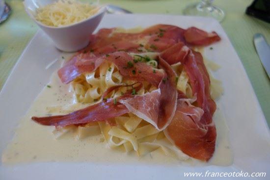 フランス料理 生ハムパスタ