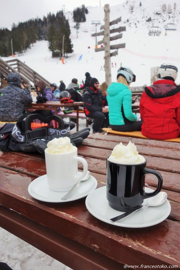 スキー場でお茶