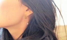 棘と真珠♡揺れるパールのフープピアス