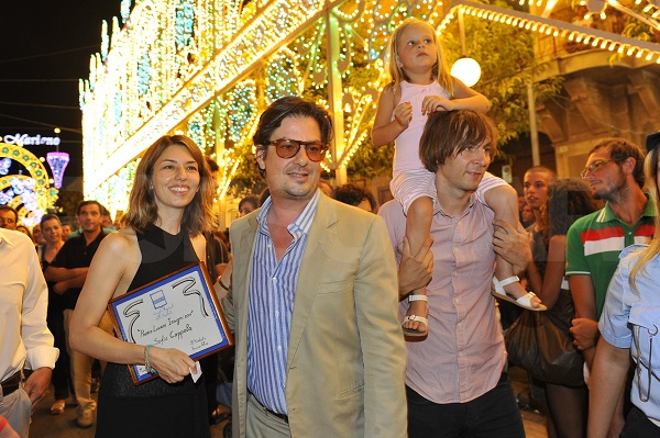 August 23, 2011: THe Coppola family takes part in the local Festa di San Bernadino in Matera, Italy. Pictured here: Sofia Coppola, Roman Coppola, Romy Mars, Thomas Mars Credit: INFphoto.com  Ref: infit-05/59101|sp|N. AMERICA, CHINA, JAPAN SALES ONLY.