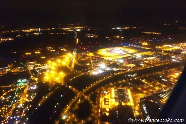パリ シャルルドゴール 夜景